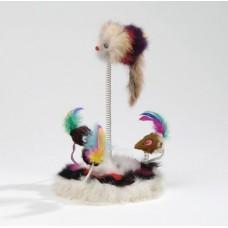 """Beeztees 425470 Игрушка для кошек """"Мышки меховые на пружинах"""" на мягкой подставке 15*25см (C19195)"""