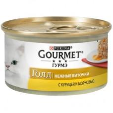 Gourmet Gold нежные биточки с курицей и морковью, 85г (24965)