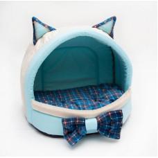 """Yami-Yami Домик-лежанка """"Мята"""" с бантиком и съемной подушкой для кошек, 41х32х30 см (P25391.рп)"""
