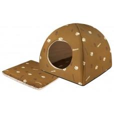 "Yami-Yami Домик мягкий ""Юрта"" с подушкой, коричневый, хлопок 48х48х47см"