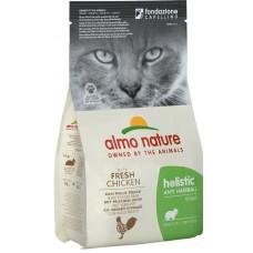 Almo Nature Holistic Anti Hairball Adult для взрослых кошек контроль вывода шерсти курицей и рисом