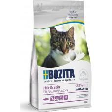 Bozita GRAIN FREE Sensitive Hair & Skin сухой корм для кошек для здоровой кожи и блестящей шерсти с лососем