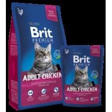 Brit Premium Adult Chicken сухой корм для кошек нежная курица с соусом из куриной печени