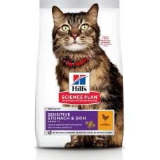 Hill's Science Plan SENSITIVE STOMACH & SKIN для кошек с чувствительным пищеварением и кожей, с курицей