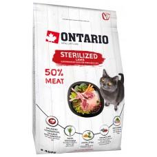 Ontario STERILISED для стерилизованных кошек с ягненком