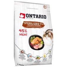 Ontario Sterilised 7+ для пожилых стерилизованных кошек с курицей