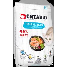 Ontario HAIR & SKIN для здоровья кожи и шерсти кошек с лососем
