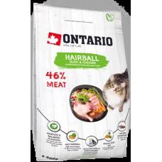 Ontario HAIRBALL для взрослых кошек с уткой и курицей
