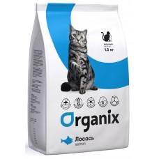Organix ADULT CAT сухой корм для кошек с чувствительным пищеварением  со свежем лососем
