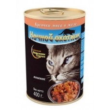 Ночной охотник Кусочки в желе для кошек с ягненком, 400 гр. (05061)