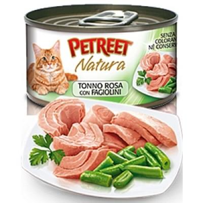 Петрит консервы для кошек Кусочки розового тунца с зеленой фасолью 70гр. (53065)