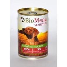 Био Меню Сенситив консервы для собак Индейка/Кролик