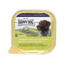 Хэппи Дог консервы для собак нежный паштет индейка/паста/морковь 150гр. (10605)
