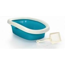 Beeztees Туалет для кошек овальный с совком голубой