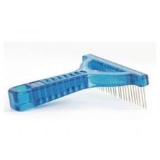 Beeztees Расческа-грабли с вращающимися зубчиками голубая (660660)