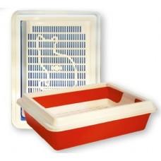 """Зооэкспресс Туалет с сеткой """"КИС"""" глубокий с рамкой 40,5*30*12 см (11091)"""