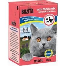 Bozita Feline MINI Meat Mix Кусочки в соусе для кошек мясной коктейль, 190 гр. (P22219)