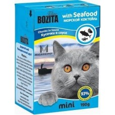 Bozita Feline MINI Seafood Кусочки в соусе морской коктейль для кошек, 190 гр. (2103)