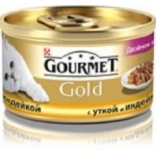 Гурмет Gold Duo для кошек кусочки в соусе с уткой и индейкой, 85гр. (05239)