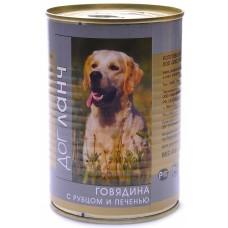 Дог Ланч консервы для собак Говядина с рубцом и печенью 410гр. (55188)
