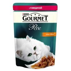 Gourmet Perl для кошек кусочки говядины в подливке, 85г  (05203)