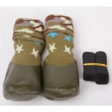 Барбоски Носки для Прогулок с латексным покрытием, на завязках, хаки, 4шт.