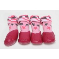Барбоски Носки для Прогулок с латексным покрытием, на завязках, розовые, 4шт.