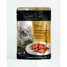 Эдель Кэт (Edel Cat) Консервы для кошек, Курица и утка в желе 100гр. (05837)