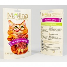 Молина Лакомство для кошек Кусочки тунца, 80г (70634)
