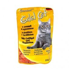 Эдель Кэт (Edel Cat) Консервы для кошек, Птица и кролик в желе 100гр. (05839)