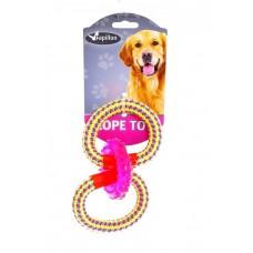 "PapillonИгрушка для собак ""Тройное кольцо"" ,18 см / Weaving rope toy with TRP  18cm 90 - 100 g, yellow/pink  (3/54) (P19537)"