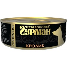 Четвероногий Гурман GOLDEN LINE консервы для собак кролик натуральный в желе