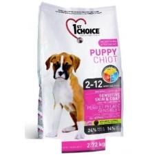 1st Choice PUPPY SENSITIVE SKIN&COAT для щенков чувствительная кожа и шерсть с ягненком и рыбой