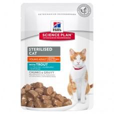 Hill's Science Plan Sterilised Cat пауч для молодых кошек от 6 месяцев до 6 лет с форелью (Young Adult with Turkey), 85гр. (C39587)