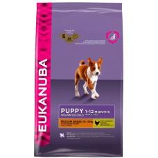 Eukanuba Корм для щенков средних пород с курицей и рисом (Puppy & Junior Medium breed)