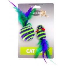"Papillon Игрушка для кошек ""Мышка и мячик с перьями"" 5+4см (Cat toy mouse 5 cm and ball 4 cm with feather on card)"