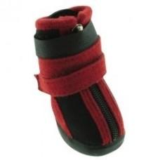 Обувь черная с красными полосками для собак