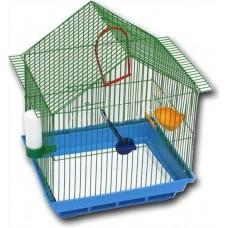 Зоомарк Клетка для птиц домик, укомплектованная