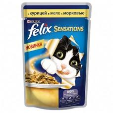 Felix Sensations для кошек с Курицей и морковью в желе, пауч, 85гр. (05291)