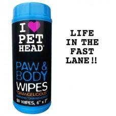 """Pet Head Салфетки гипоаллергенные """"Цитрусовый бум"""" для лап и тела, 50 шт. (PAW & BODY) (50445)"""