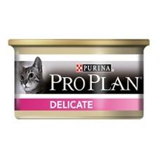 Pro Plan DELICATE консервы для кошек с чувствительным пищеварением, мусс с индейкой 85гр. (21322)