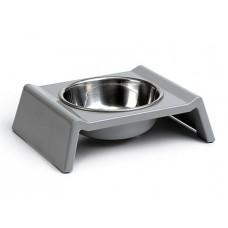 Beeztees Миска для собак стальная на меламиновой подставке 160 мл 17*15*5 см