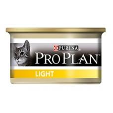 Pro Plan LIGHT консервы для кошек с избыточным весом, кусочки в соусе с индейкой, 85гр. (21321)