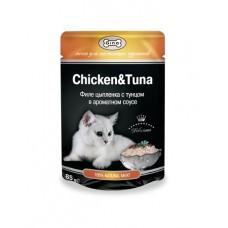 GINA пауч для кошек цыпленок и тунец в соусе, 85 гр. (39000)