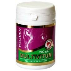 Полидекс Multivitum для кошек поливитаминно-минеральный комплекс, 200таб. (7833)