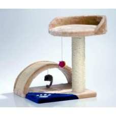 Beeztees Когтеточка мостики столбик с местом, бежево-голубоватый 35*35*44 см (408315)