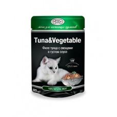 GINA пауч для кошек тунец и овощи в соусе, 85 гр. (38999)