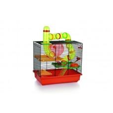 Beeztees Rocky Клетка для грызунов с игровым комплексом, черно-красная, 43*28*38,5см. (266820)