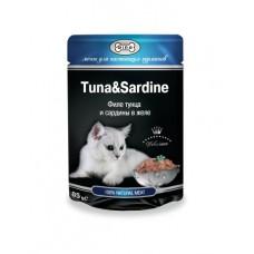 GINA пауч для кошек тунец и сардины в желе, 85 гр. (38998)