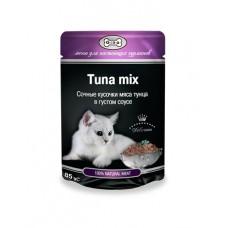 GINA пауч для кошек тунец микс в соусе, 85 гр. (38996)
